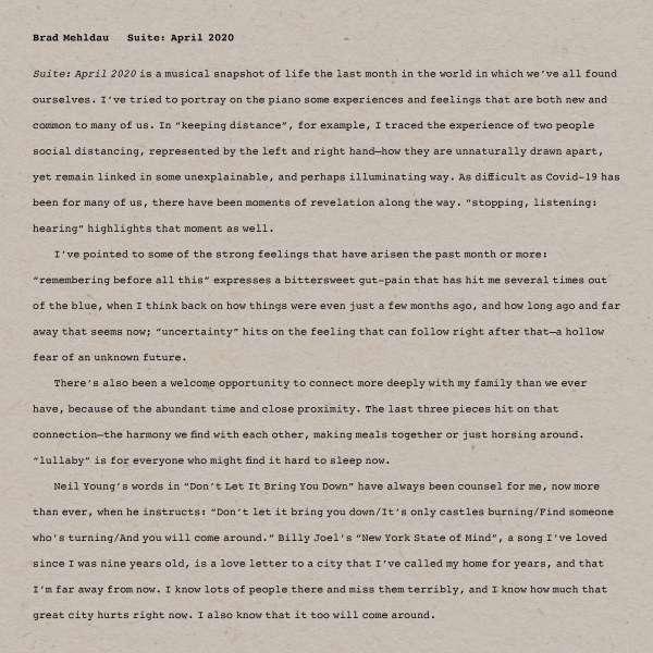 Brad Mehldau Suite April 2020 Cover Nonesuch Records